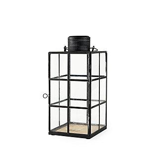 Mercana Medium Black Metal and Glass Lantern, , large