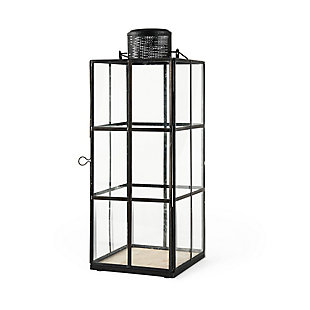 Mercana Large Black Metal and Glass Lantern, , rollover