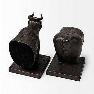 Mercana III Black Cast Iron Bull Bookends (Set of 2), , large