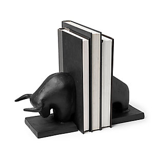 Mercana III Black Cast Iron Raging Bull Bookends (Set of 2), , large