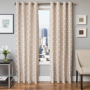 "Lapeer 96"" Jacquard Panel Curtain, Natural, large"