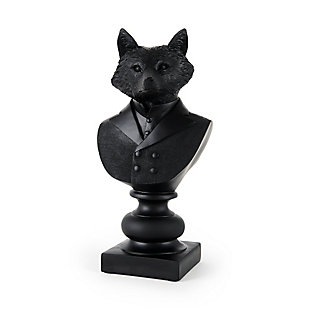 Mercana Black Painted Resin Fox in a Suit Bust, , large