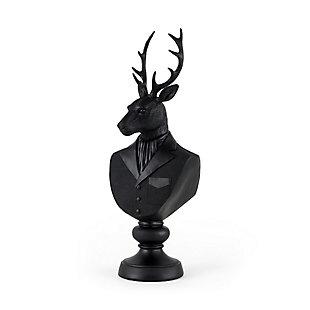 Mercana Black Painted Resin Deer Bust, , large