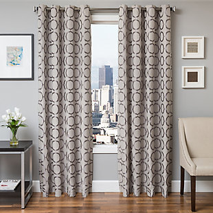 "Lapeer 84"" Jacquard Panel Curtain, Silver, large"