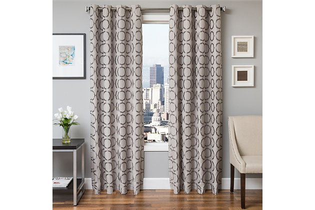 "Lapeer 96"" Jacquard Panel Curtain, Silver, large"