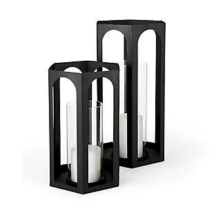 Mercana Matte Black Metal Hexagonal Candle Holder Lanterns (Set of 2), , rollover