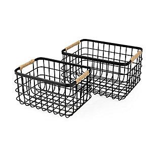 Mercana Matte Black Metal with Rope Trim Rectangular Baskets (Set of 2), , rollover