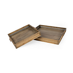 Mercana Brown Wood and Wicker Square Trays (Set of 2), , large