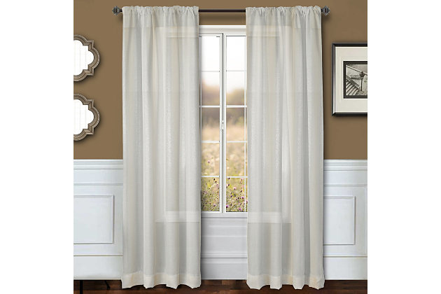 "Eleganz 84"" Metallic Sheer Panel Curtain, Cream, large"
