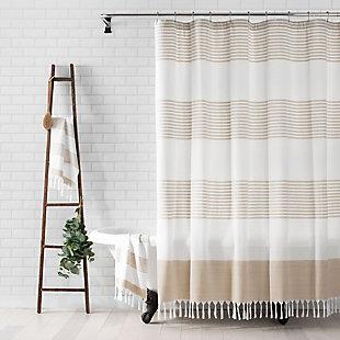 "Elrene Home Fashions Stripe Knotted Tassel Fabric Shower Curtain, 72""x72"", Beige, Beige, rollover"