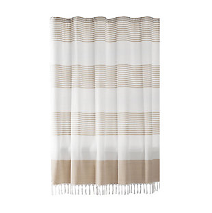 """Elrene Home Fashions Stripe Knotted Tassel Fabric Shower Curtain, 72""""x72"""", Beige, Beige, large"""
