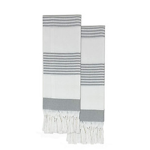 """Elrene Home Fashions Stripe Knotted Tassel Hand Towels Set of 2, 16""""x30"""", Gray, Gray, large"""