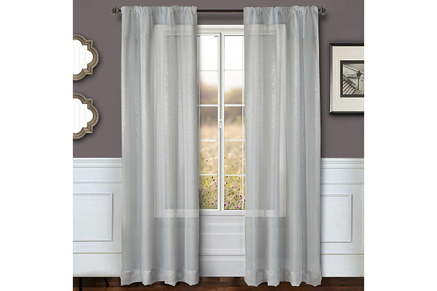 """Eleganz 84"""" Metallic Sheer Panel Curtain, Silver, large"""
