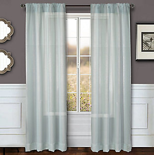 "Eleganz 84"" Metallic Sheer Panel Curtain, Spa, large"