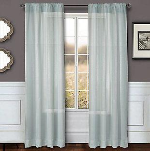 "Eleganz 84"" Metallic Sheer Panel Curtain, Spa, rollover"