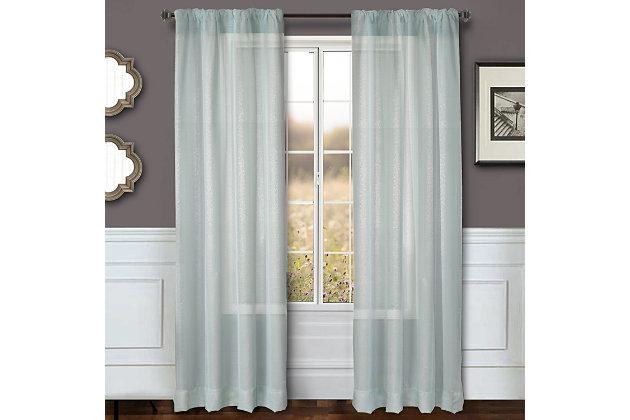 """Eleganz 96"""" Metallic Sheer Panel Curtain, Spa, large"""