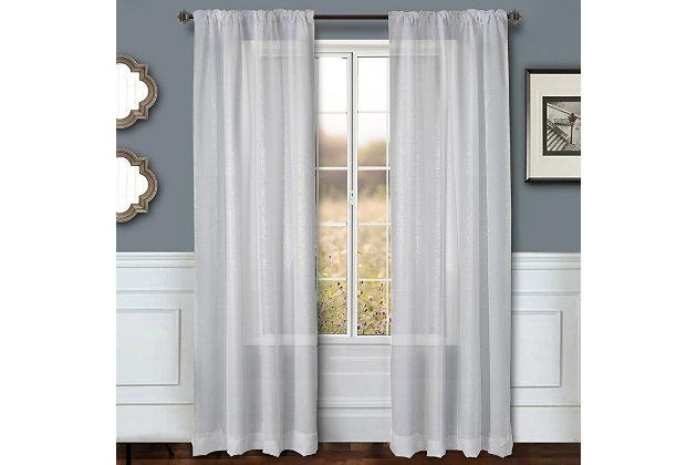 """Eleganz 96"""" Metallic Sheer Panel Curtain, White, large"""