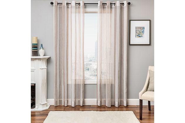 "Harbor 96"" Sheer Panel Curtain, Champagne, large"