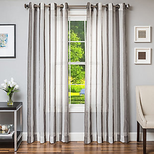"""Harbor 84"""" Sheer Panel Curtain, Charcoal, large"""