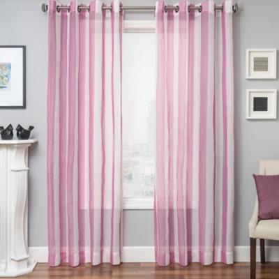 "Harbor 84"" Sheer Panel Curtain, Hot Pink, large"