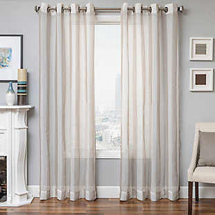 "Harbor 84"" Sheer Panel Curtain, Natural, rollover"