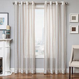 "Harbor 84"" Sheer Panel Curtain, Natural, rollover"