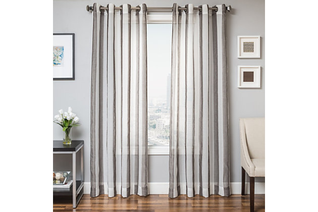 "Harbor 96"" Sheer Panel Curtain, Slate, large"