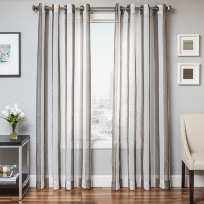"Harbor 96"" Sheer Panel Curtain, Slate, large"