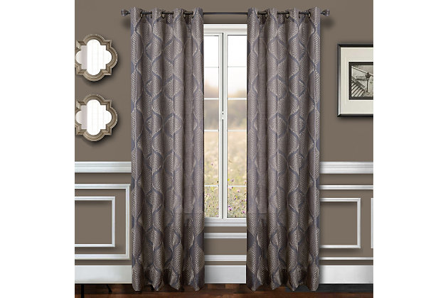 """Marlene 84"""" Embroidered Panel Curtain, Charcoal, large"""