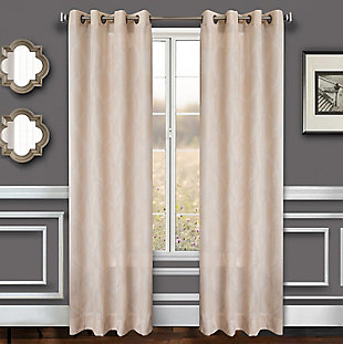"Marlene 84"" Embroidered Panel Curtain, Sand, large"