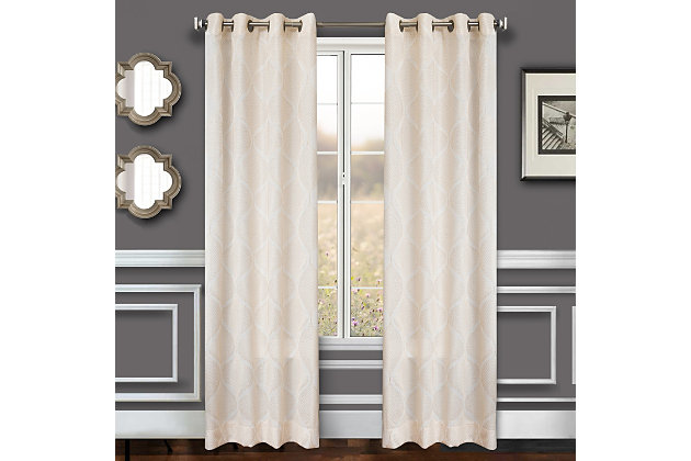 "Marlene 84"" Embroidered Panel Curtain, White, large"