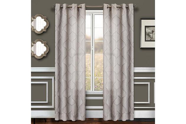 "Marlene 84"" Embroidered Panel Curtain, Slate, large"