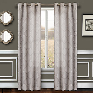 """Marlene 84"""" Embroidered Panel Curtain, Slate, rollover"""