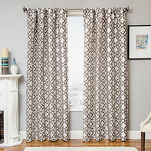 "Peyton 96"" Jacquard Tile Panel Curtain, Designer Gray, large"