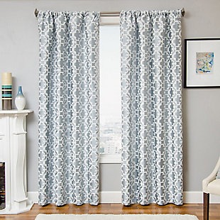 "Peyton 84"" Jacquard Tile Panel Curtain, Ocean, large"