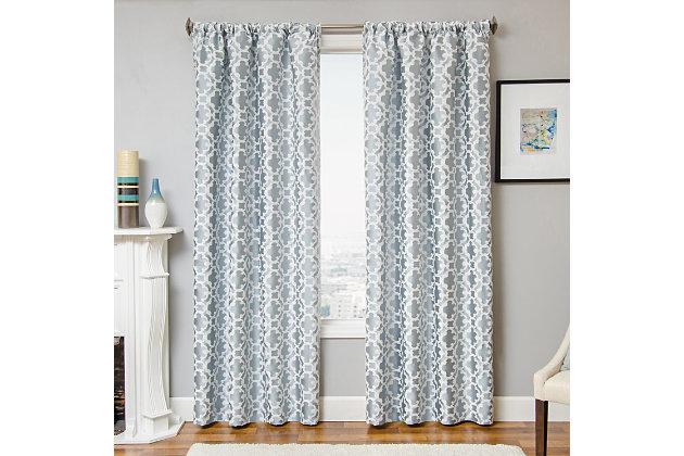 """Peyton 84"""" Jacquard Tile Panel Curtain, Ocean, large"""