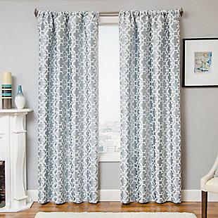 "Peyton 84"" Jacquard Tile Panel Curtain, Ocean, rollover"