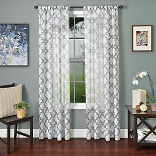 "Presidio 84"" Sheer Panel Curtain, Blue White, rollover"