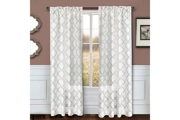 "Presidio 84"" Sheer Panel Curtain, Taupe White, large"
