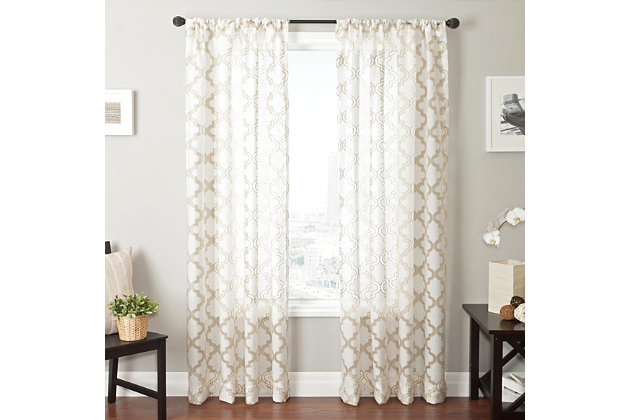 "Presidio 84"" Sheer Panel Curtain, Champagne White, large"