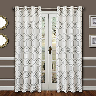 "Harleigh 96"" Embroidered Panel Curtain, Haze, large"