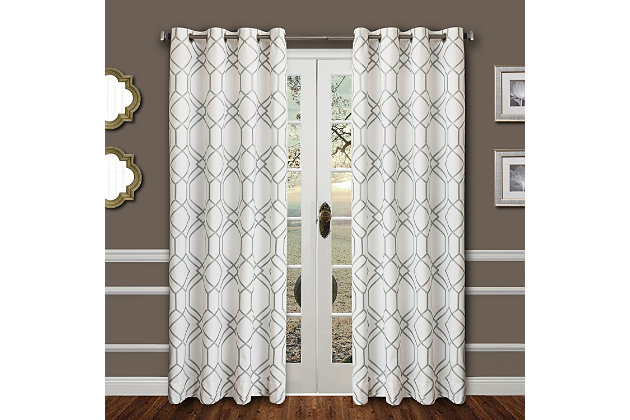 """Harleigh 96"""" Embroidered Panel Curtain, Haze, large"""