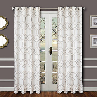 "Harleigh 96"" Embroidered Panel Curtain, , rollover"