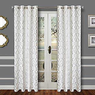 "Thane 96"" Embroidered Panel Curtain, Haze, large"