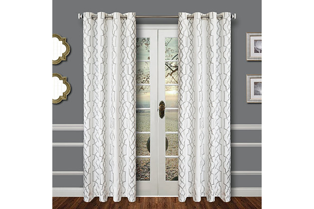 """Thane 96"""" Embroidered Panel Curtain, , large"""
