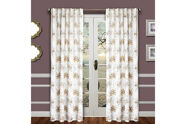 """Tropic 84"""" Palm Panel Curtain, Gold Pewter, large"""