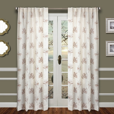 """Tropic 84"""" Palm Panel Curtain, Taupe White, large"""