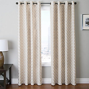 "Vaughn 84"" Jacquard Chevron Panel Curtain, Beige, rollover"
