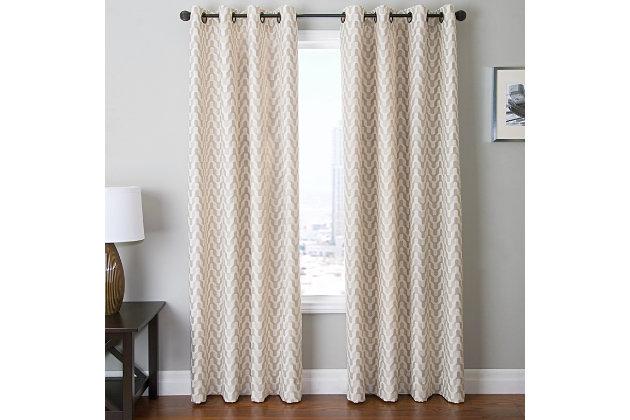 "Vaughn 84"" Jacquard Chevron Panel Curtain, Beige, large"