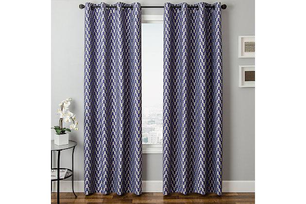 "Vaughn 84"" Jacquard Chevron Panel Curtain, Blue Violet, large"